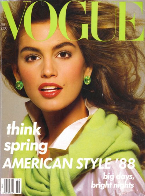 1980s cindy crawford on the cover of vogue. classic.