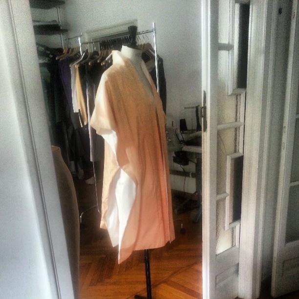 Cotton fab spring coat stucco veneziano painted @ Venette Waste atelier