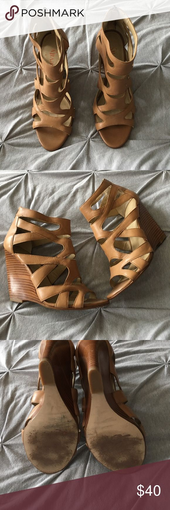strappy brown platform heels tan brown strappy platform  4inch heels great condition - had sticky pads on soles (they left marks inside that would easily be covered up while wearing) - love these. just too high for me now :) levity Shoes Platforms
