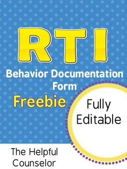 FREE RTI Behavior Documentation: Intervention & Progress M
