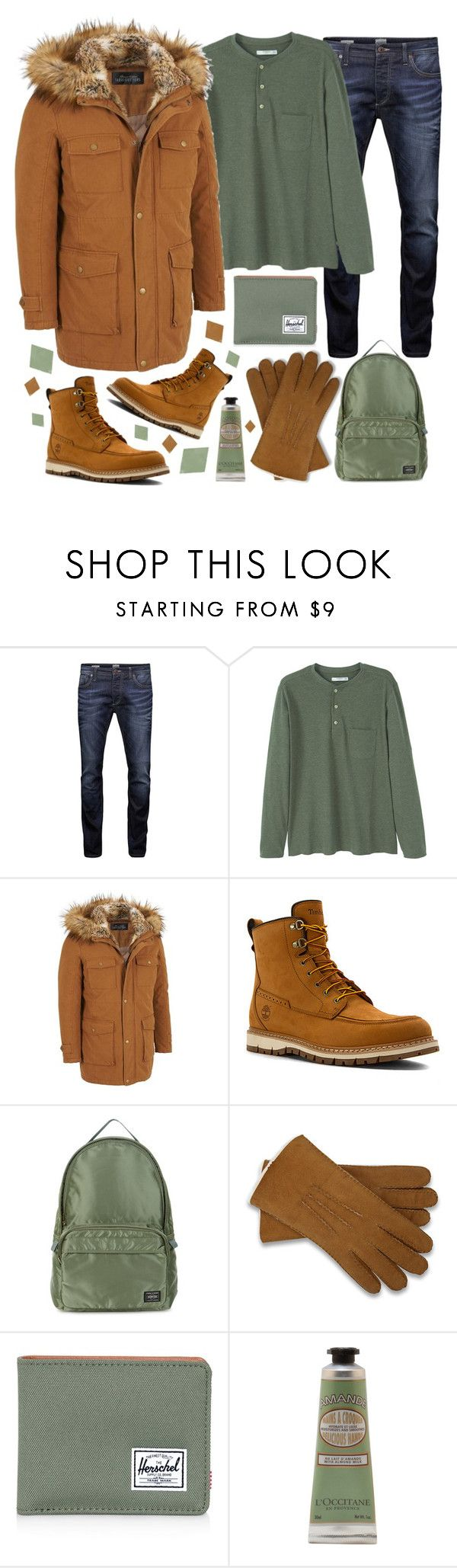 """Timberland Boots!"" by sanela-enter ❤ liked on Polyvore featuring Jack & Jones, MANGO MAN, Timberland, Porter, UGG Australia, Herschel Supply Co., L'Occitane, men's fashion and menswear"