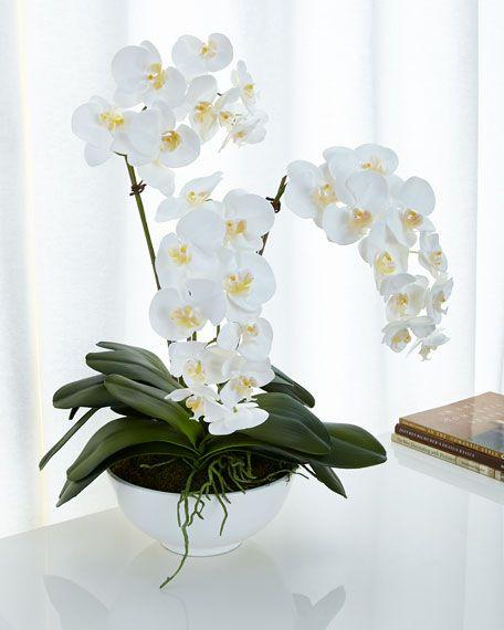 White Orchids Faux-Floral Arrangement