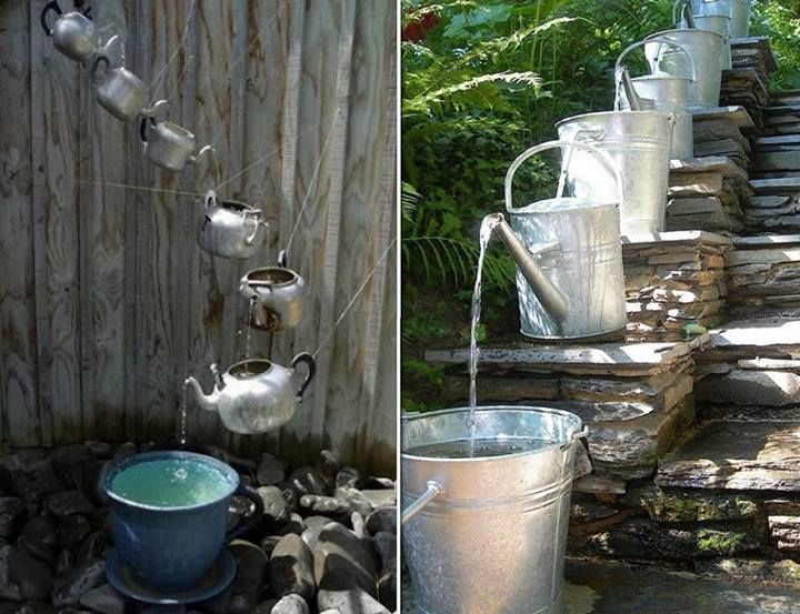 DIY Cascading Water Feature. I guess I need to go to garage sales and collect teapots since I love this.
