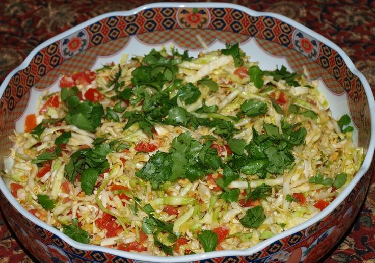 This is a wonderful and refreshing salad from the book, Great Vegetarian Dishes, by Kurma Dasa.  This my favorite and has never failed to please my guests.