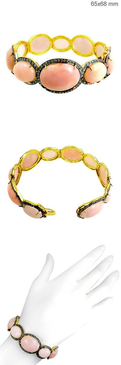 Bracelets 52598: Peach Moonstone 14K Gold Diamond 1.79 Ct Pave Bangle Silver Antique Look Jewelry BUY IT NOW ONLY: $1220.0
