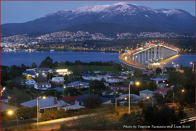 Mount Wellington towering over Hobart, Tasmania