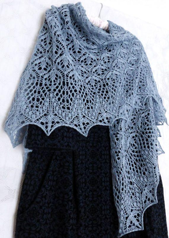 Ready to Ship. Free Shipping. Gray Blue Lace Shawl. от ShawlOlga