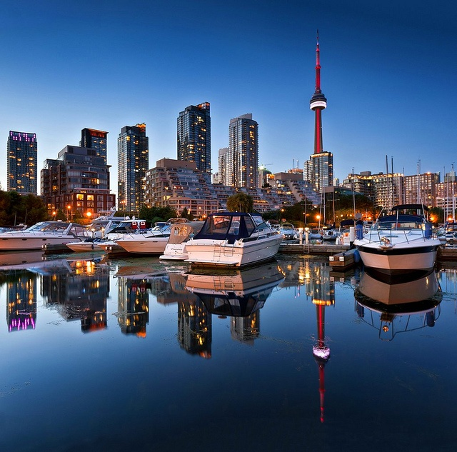 Marina Quay West with CN Tower in the background. #skylines #dusk #cities #Canada #travel
