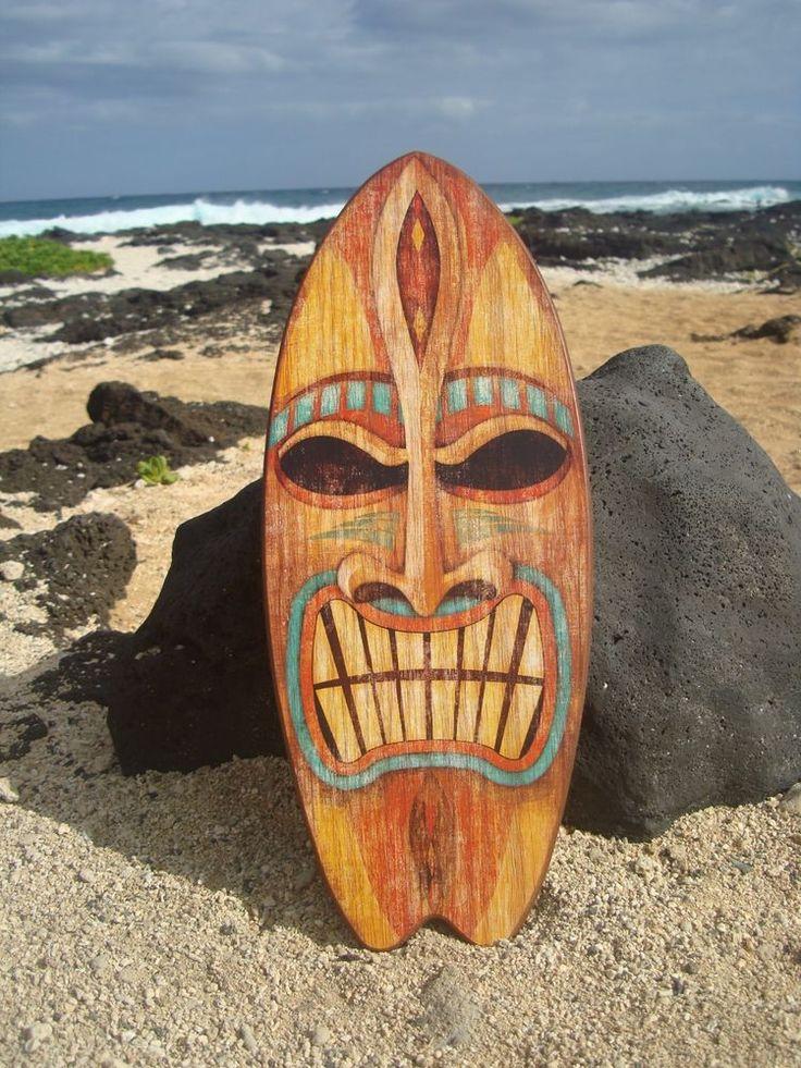 LARGE ANGRY TIKI GOD TROPICAL HAWAIIAN ISLAND SURFBOARD SIGN Beach Bar Decor NEW #Tropical