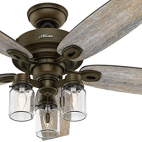 Hunter Fan Regal Bronze Ceiling Includes Three Light Er With Clear Gl 5 Blade Certified Refurbished Liances
