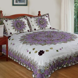 @Overstock - Floral embroidery surrounds the vibrant patchwork center that bursts across the white backdrop of this Pansy Field quilt set. Made of pre-shrunk and pre-washed cotton, this quilt set includes two coordinating shams.http://www.overstock.com/Bedding-Bath/Pansy-Field-King-size-Quilt-Set/6154874/product.html?CID=214117 $66.99
