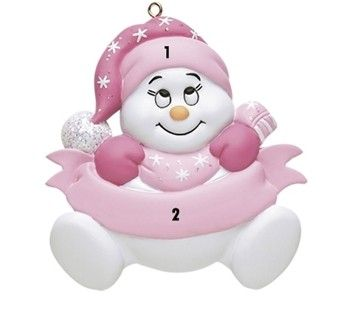 Little Girl Pink Snowbaby Personalized Ornament