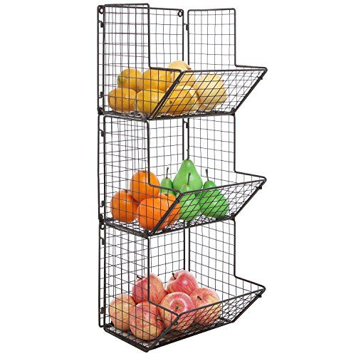 Rustic Brown Metal Wire 3 Tier Wall Mounted Kitchen Fruit Produce Bin Rack / Bathroom Towel Baskets MyGift