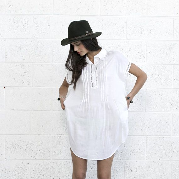 ON SALE Short Kaftan Dress White . by naftul on Etsy $133