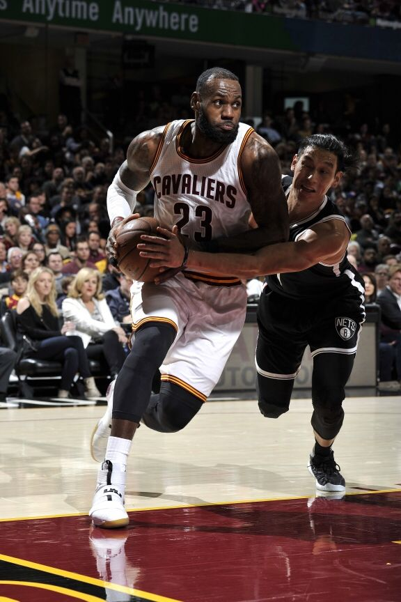 LeBron James #23 of the Cleveland Cavaliers drives to the basket during the game against the Brooklyn Nets on December 23, 2016 at Quicken Loans Arena in Cleveland, Ohio.