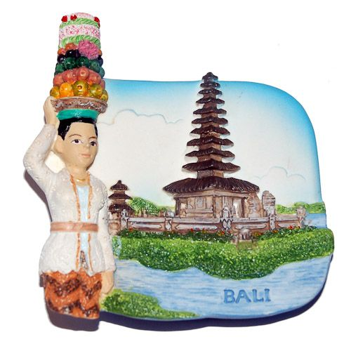 Resin Fridge Magnet: Indonesia. Bali. Pura Ulun Danu Bratan