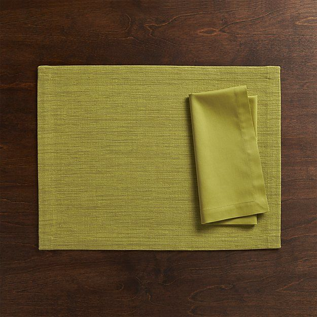 Grasscloth Green Placemat and Fete Green Napkin | Crate and Barrel