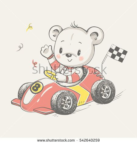Cute little bear driving a car cartoon hand drawn vector illustration. Can be used for baby t-shirt print, fashion print design, kids wear, baby shower celebration greeting and invitation card.
