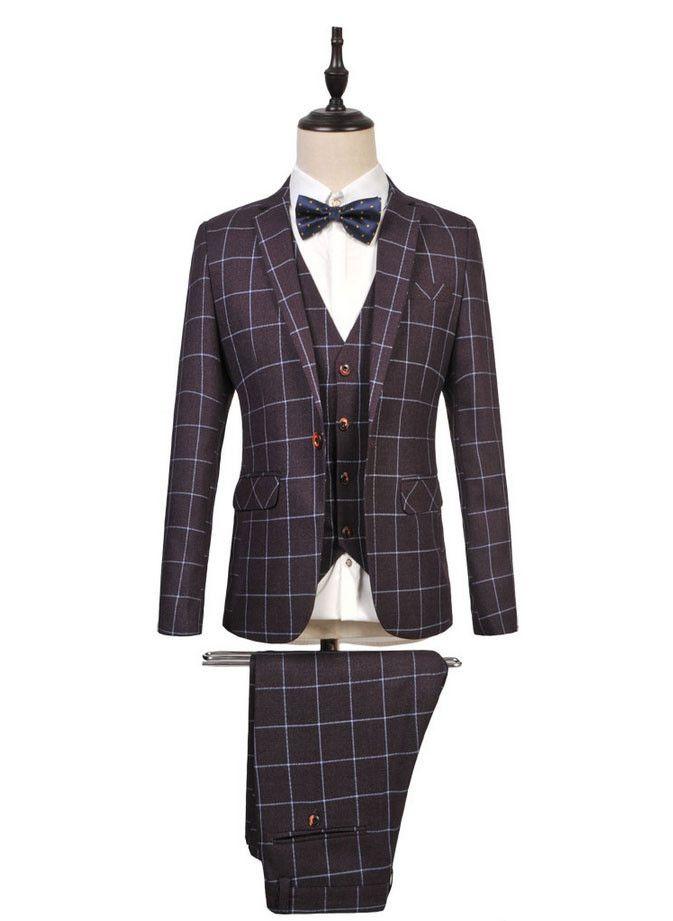 (Jacket+Pants+Vest)2016 Fashion Tuxedos For Men 6XL Size Slim Fit Suit Set Costume Homme Mariage Men Wedding Plaid Costume Homme