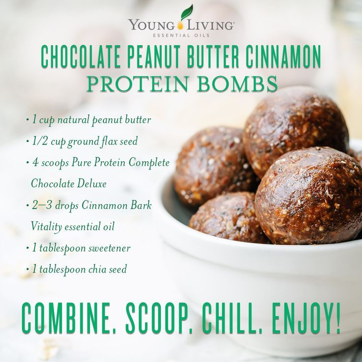 Keep these chocolate peanut butter cinnamon protein bombs in the fridge for a quick, guilt-free snack!