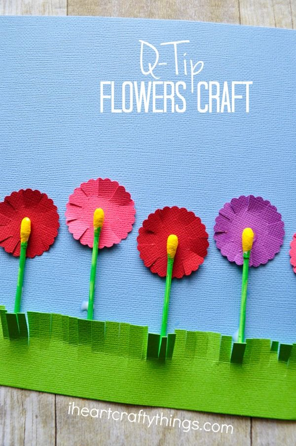 Here's a fun and unique way to make a flower craft using q-tips. The q-tips and flowers pop off the page and look so vibrant and colorful. It makes a great spring craft for kids of all ages.