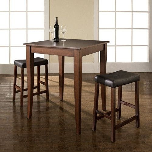 Crosley 3-Piece Pub Dining Set with Cabriole Leg and Upholstered Saddle Stools - Indoor Bistro Sets at Hayneedle
