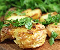 Knuste kartofler m. hvidløg - opskrift