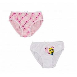 Трусы для девочки, 2 штуки с миньонами розовые и белые