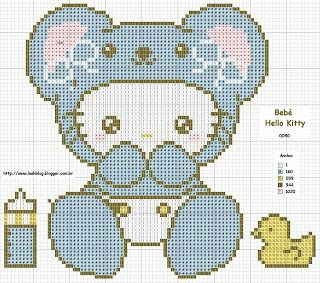 Free Baby Hello Kitty Cross Stitch Chart Pattern