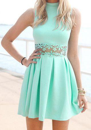 Mint Lace Waist Dress- Dress