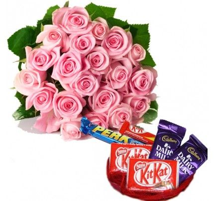 Pink Roses with Assorted Chocolates