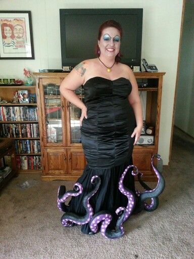 Ursula the Sea Witch costume - the tentacles are made from dollar store pool noodles! Cut notches in the noodles to make them bend in different directions, then wrap in masking tape, paint and voila!