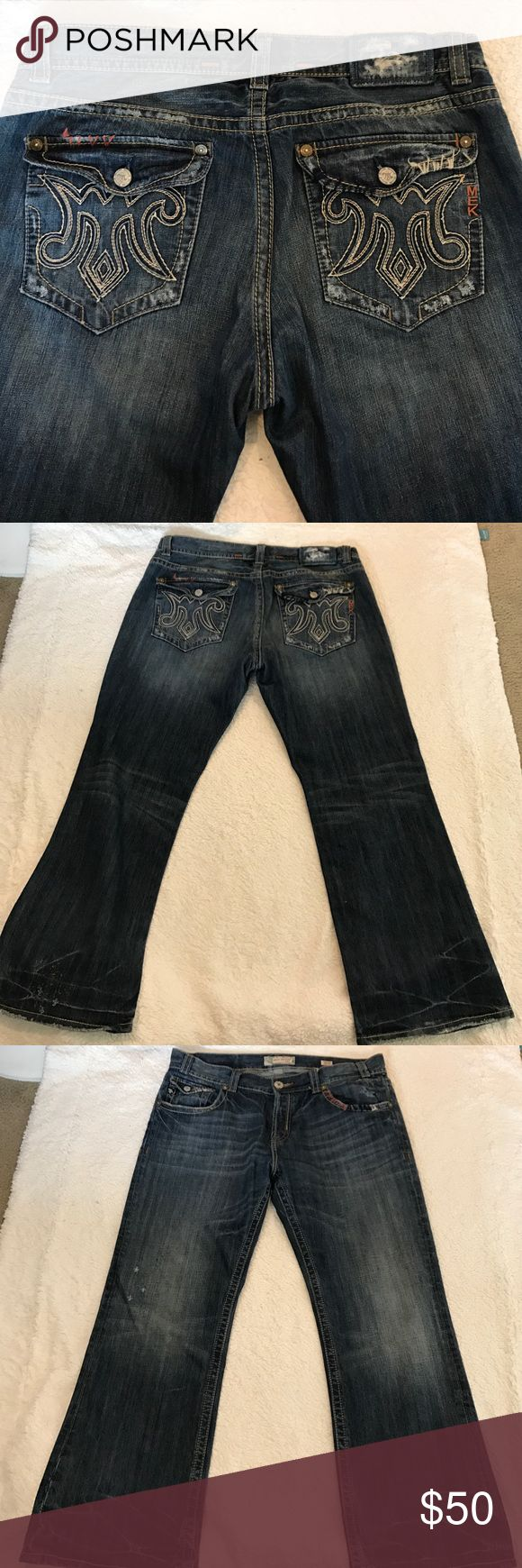 Mel Denim Embedded Distress Bootcut Jeans Size 40 Excellent condition. Mek Denim Portland men's embedded Distress Button fly Bootcut Jeans. 100% cotton. Size 40. Waist laying flat 21'. Rise 12'. Inseam 31'. Please check some of my items you might find what you are looking for in good quality and very affordable price MEK Jeans Bootcut