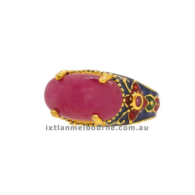 Be in Fashion with new trend of Enamel Jewellery... Italian Made Ring with low grade Ruby and Natural Stones exclusively imported by Ixtlan Melbourne Jewellery Store in Gertrude St Fitzroy