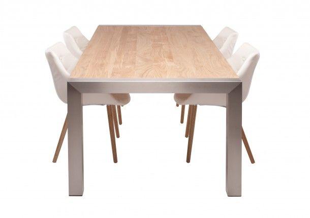 tafel hout en staal met witte stoelen