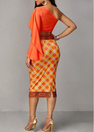 d3095593a6eead Long Sleeve Orange Top and Printed Sheath Skirt