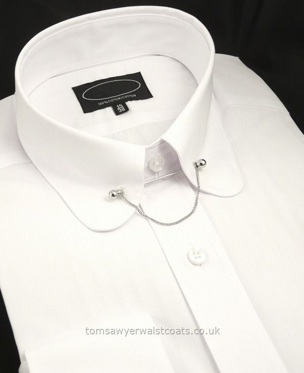 ROUNDED CLUB COLLAR Shirt With Collar Bar - Shirts Wedding Outfits Standard Collar Shirts Collar Size 16.5 $55.80
