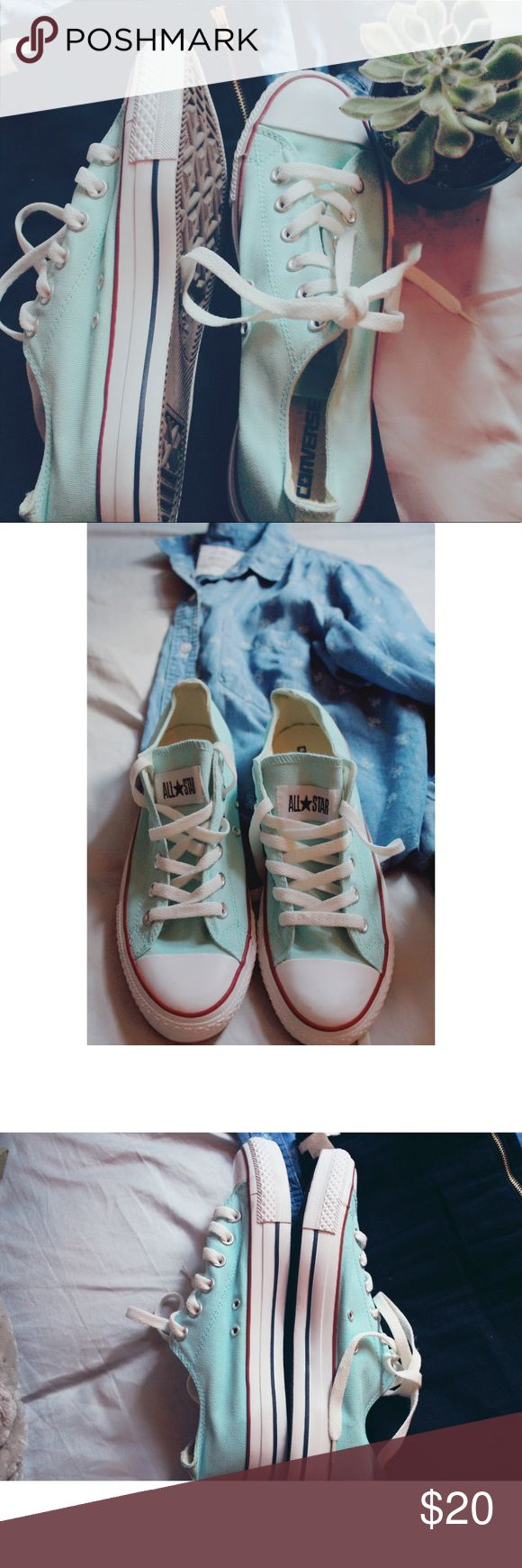 Size 9 in woman's /size 7 in men's teal converse Size 9 in woman's and size 7 in men, unisex baby blue, teal converse. Never wore once, perfect condition! I love these shoes but sadly they don't fit. 👟👟💙 Converse Shoes Sneakers