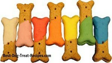Colorful dog bones that were decorated with dog treat icing.
