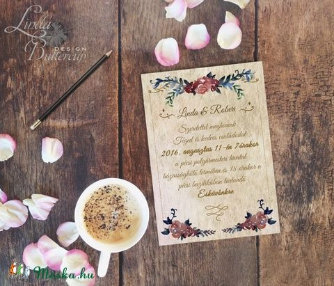 Vintage Esküvői meghívó, Vintage meghívó, rózsás Esküvői lap, lila virágos lap, rózsa meghívó, rusztikus, Esküvő, Naptár, képeslap, album, Meghívó, ültetőkártya, köszönőajándék, Képeslap, levélpapír, Meska