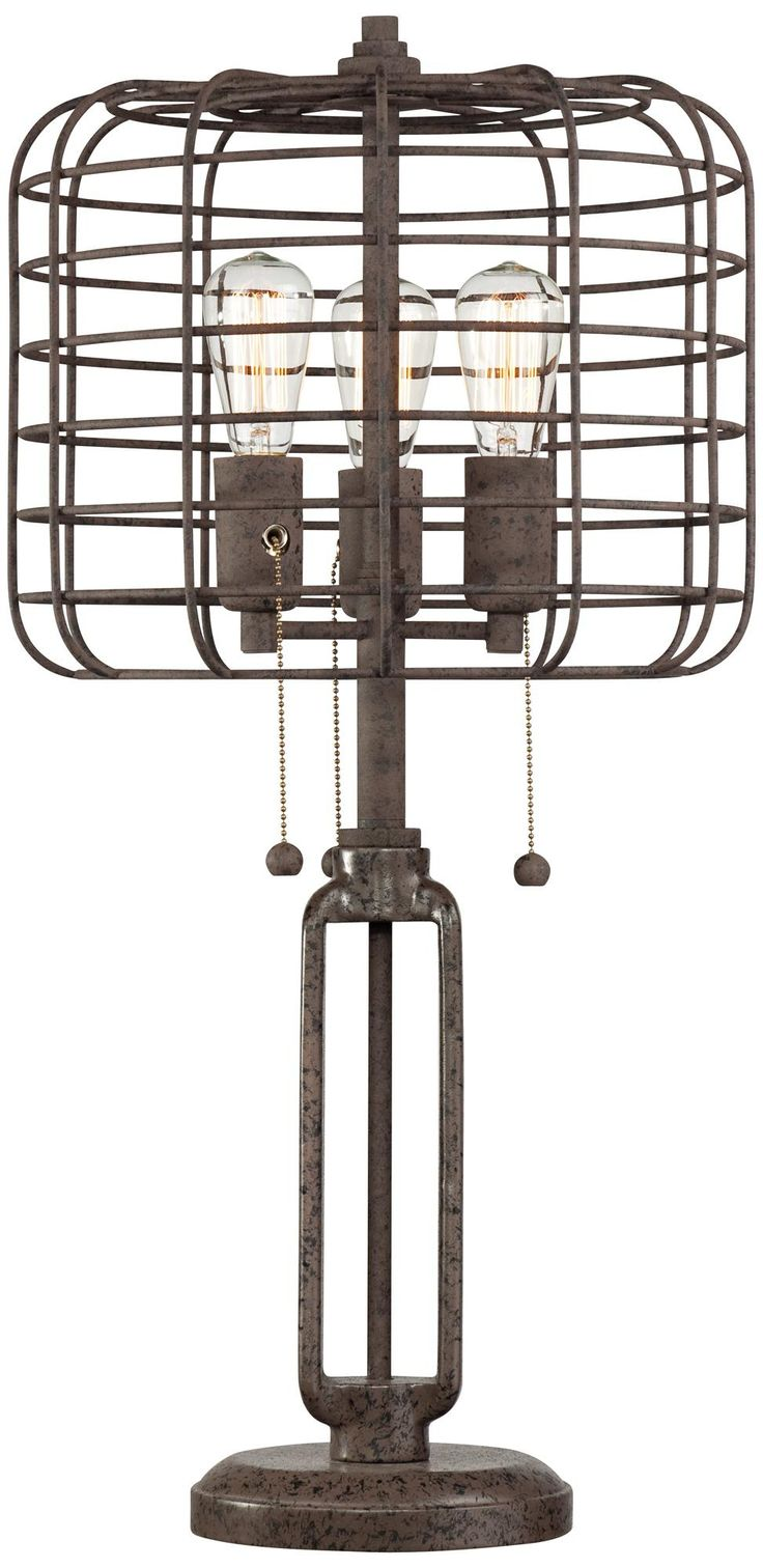 Industrial Cage Edison Bulb Rust Metal Table Lamp / #furniture #home #decor