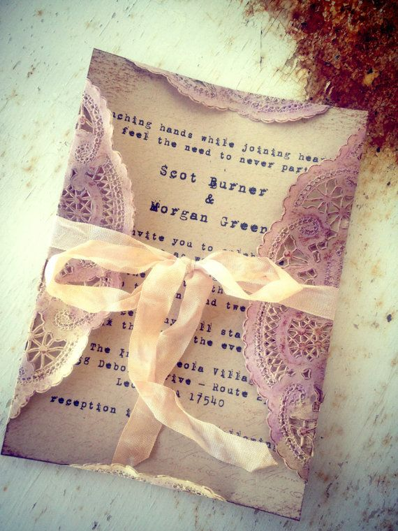 Invitations Pale Purple Doily Orchid Tea stained by ShabbyScrap, $5.50