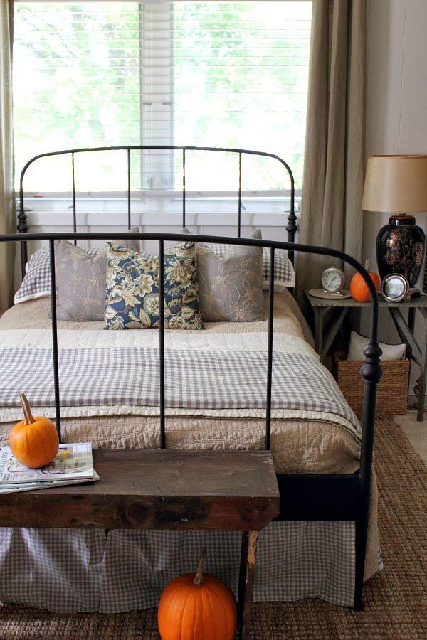 Bedroom, Antique Iron Couch With Classic Striped Blanket And Bedspread And Rustic Side Table Placed On The Bed Foot Area For Halloween Decorating Ideas: Misty Halloween Bedroom Designs with Various Accents and Decorations