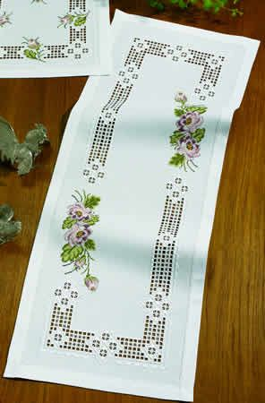 Hardanger Table Runner Kit - Cross Stitch Flowers