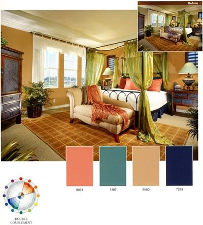 This Bedroom Creates A Double Complementary Color Scheme Different Tints And Shades Of Hues Are Used In Room But They Still Create
