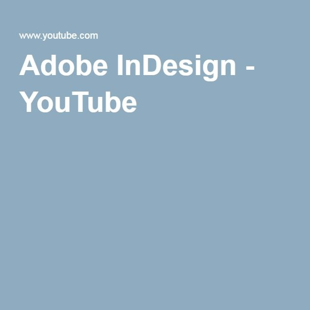 Adobe InDesign - YouTube