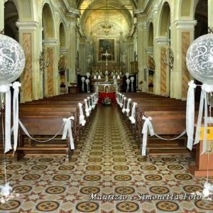 Allestimento in chiesa con palloncini