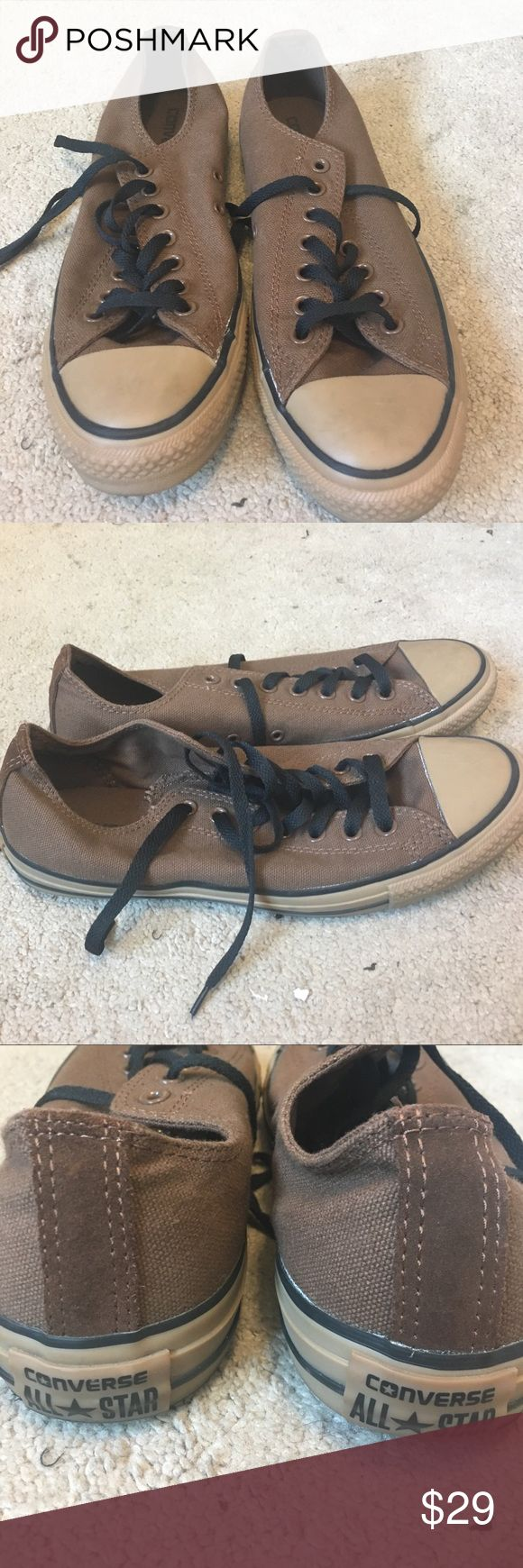 Converse All star Women 11 Men 9 Purchased from converse store brown converse worn one time put in closet storage since they are canvas material and like new has some glue edge discoloration on right inside as pictured Converse Shoes Sneakers