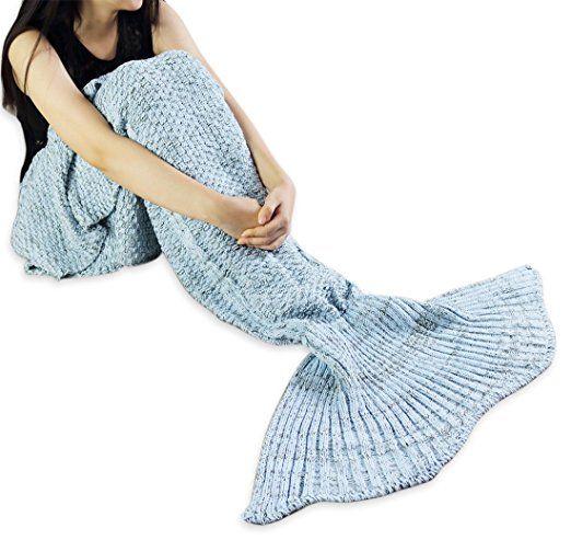 iEFiEL Mädchen Damen Kostüm Meerjungfrau Fischschwanz Decke Schwanz Flosse Handgemachte Schlafsack Blanket Kostüm Häkel Erwachsene Decke, Blau ( Stil 4 ), Erwachsene Größe