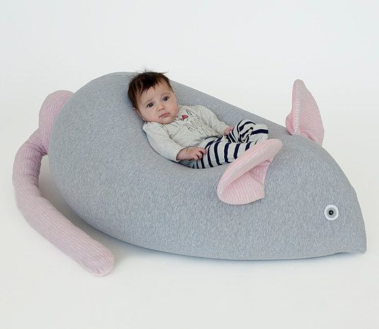 Beanbag, beanbag for baby, beanbag for kids, beanbag chair, beanbag sofa, mouse beanbag (Without filling) grey & pink
